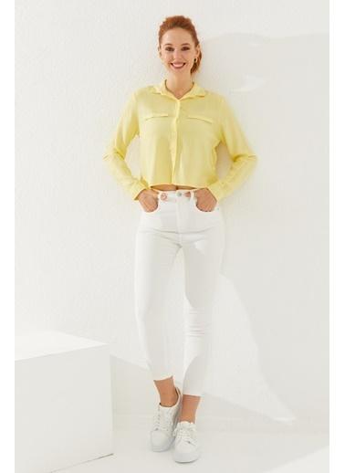 Reyon Uzun Kollu Kadın Gömlek  Sarı Sarı